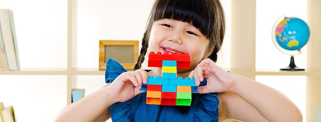building blocks little girl